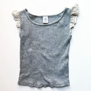 Flutter Sleeve Ribbed Tank in Grey